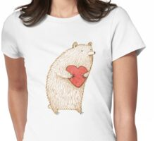 Bear with Heart Womens Fitted T-Shirt