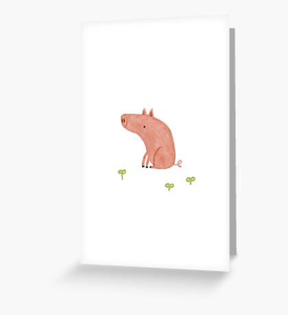 Sitting Pig Greeting Card