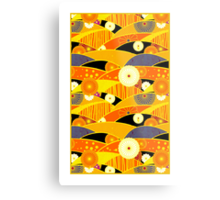 Chiyogami Tangerine & Blueberry [iPhone / iPod Case and Print] Metal Print