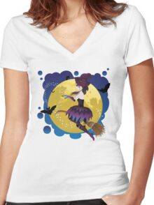 Witch on the Moon 3 Women's Fitted V-Neck T-Shirt