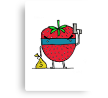 Stick Em Up...This Is A Strawberry Canvas Print