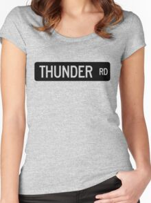 Thunder Road street sign Women's Fitted Scoop T-Shirt