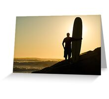Long boarder watching the waves Greeting Card