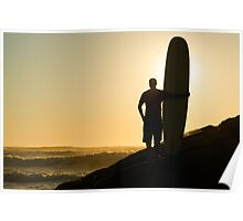 Long boarder watching the waves Poster