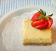 Lemon Bars with a Strawberry on Top by Lynnette Peizer