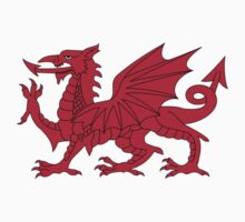 Red Welsh Dragon - Flag of Wales - Sport T-Shirt Sticker Bedspread Duvet One Piece - Long Sleeve