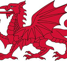 Red Welsh Dragon - Flag of Wales - Sport T-Shirt Sticker Bedspread Duvet by deanworld