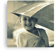 smiling in the rain Canvas Print