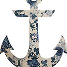 Blue Floral Anchor by SuperFluff