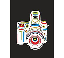 Rainbow Camera Black Background Photographic Print