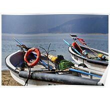 fisher boats at papudo bay Poster