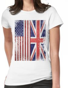 Distressed Flags: American/British Womens Fitted T-Shirt