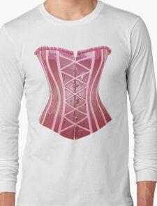Pink Latex Corset Long Sleeve T-Shirt