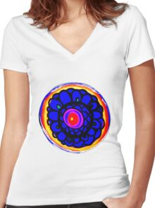 Colorful Floral Pattern Women's Fitted V-Neck T-Shirt