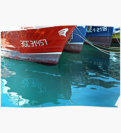 Reflection of red and blue Boats Poster