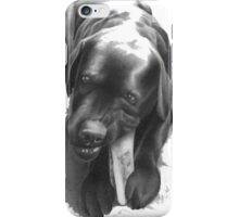 a lab chewing on a leg  iPhone Case/Skin