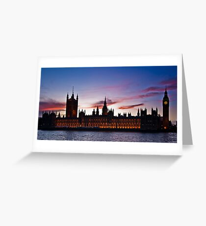 British Houses of Parliament at twilight Greeting Card