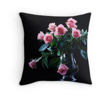 Close up of beautiful pink roses Throw Pillow