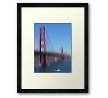 Golden Gate Bridge and white Boat Framed Print