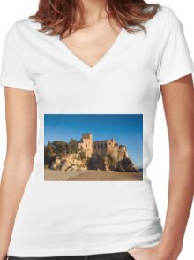 Castle of Ferragudo, Algarve, Portugal  Women's Fitted V-Neck T-Shirt