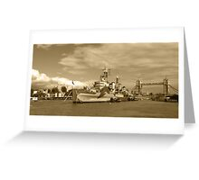 HMS Belfast and London skyline Greeting Card