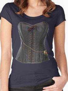 Steampunk Brown Leather Corset Women's Fitted Scoop T-Shirt