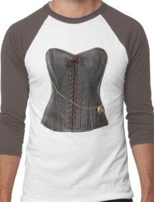 Steampunk Brown Leather Corset Men's Baseball ¾ T-Shirt