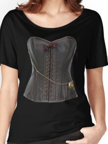 Steampunk Brown Leather Corset Women's Relaxed Fit T-Shirt