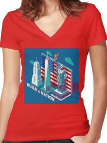 NYC Monuments Landmarks Isometric Women's Fitted V-Neck T-Shirt