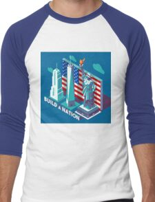 NYC Monuments Landmarks Isometric Men's Baseball ¾ T-Shirt