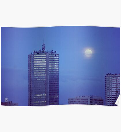 Full Moon over Brussels Poster