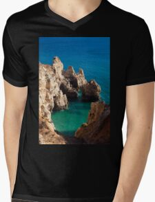 Punta de Piedade in Lagos, Algarve, Portugal  Mens V-Neck T-Shirt