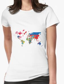 Traveler World Map Flags  Womens Fitted T-Shirt