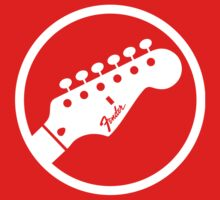 fender stylized headstock white Kids Clothes