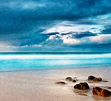 Beach Cloud Rocks Oil Painting by Fred Seghetti