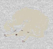 White Dog Sleeping One Piece - Long Sleeve