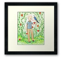 Sir David Attenborough & a Parrot Framed Print