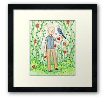 Sir David Attenborough & a Parrot Framed Print
