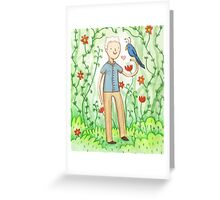 Sir David Attenborough & a Parrot Greeting Card