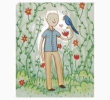Sir David Attenborough & a Parrot Kids Tee