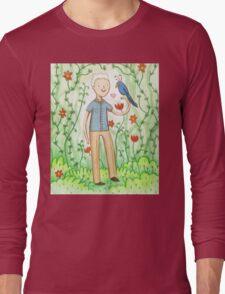 Sir David Attenborough & a Parrot Long Sleeve T-Shirt
