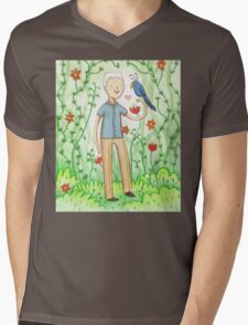 Sir David Attenborough & a Parrot Mens V-Neck T-Shirt