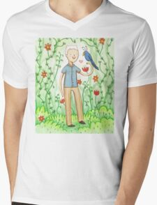 Sir David Attenborough & a Parrot Mens V-Neck T-Shirt