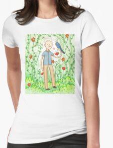 Sir David Attenborough & a Parrot Womens Fitted T-Shirt