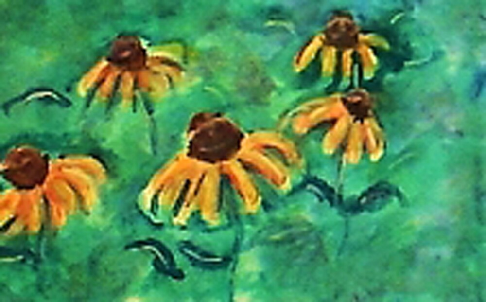 Sunflowers in teal backround, watercolor by Anna  Lewis, blind artist