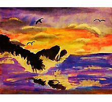 Choppy waters, watercolor Photographic Print