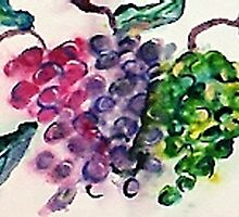 Bunches of Grapes, watercolor by Anna  Lewis