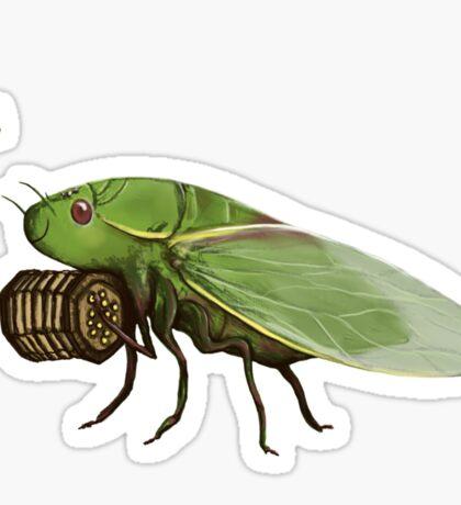 Cicada Playing a Squeezebox Sticker