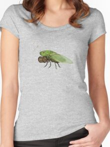Cicada Playing a Squeezebox Women's Fitted Scoop T-Shirt