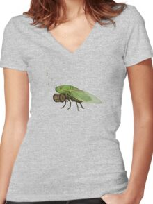 Cicada Playing a Squeezebox Women's Fitted V-Neck T-Shirt